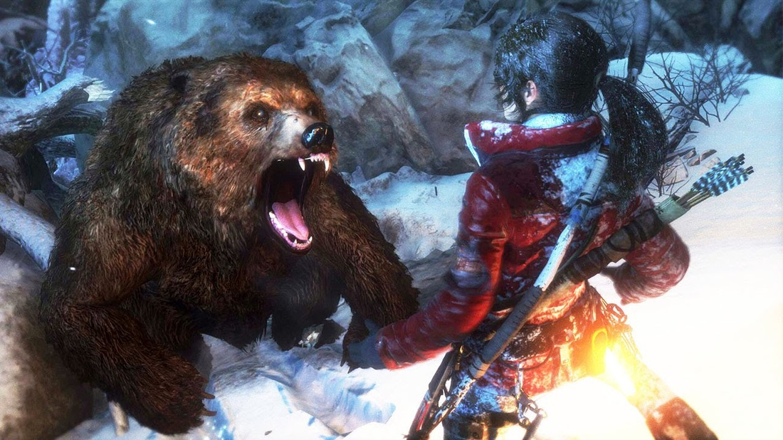 Lara Croft fighting a bear