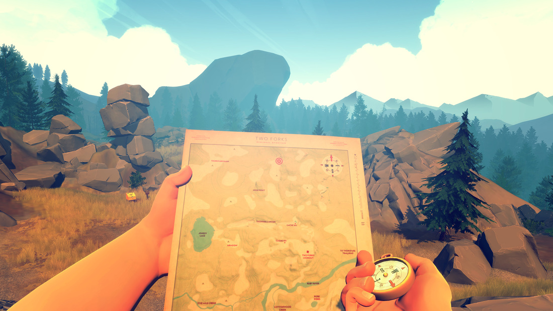Firewatch, Henry's map and compass